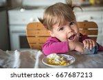 little caucasian girl have... | Shutterstock . vector #667687213