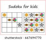 sudoku for kids. game for...   Shutterstock .eps vector #667694770