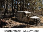small van burnt to the ground...