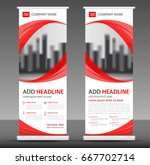 red roll up banner stand... | Shutterstock .eps vector #667702714