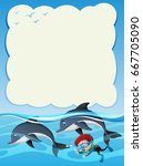 border template with boy diving ...   Shutterstock .eps vector #667705090