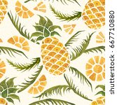seamless tropical pattern with... | Shutterstock . vector #667710880