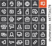 line web icons set on black... | Shutterstock .eps vector #667716178