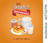 breakfast concept with food and ... | Shutterstock .eps vector #667722790