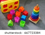 colorful toys in playroom       ... | Shutterstock . vector #667723384