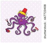 octopus cartoon mascot... | Shutterstock .eps vector #667723408