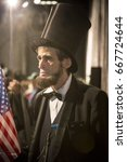 Small photo of Honest Abe The Third, Abraham Lincoln actor, reciter and quoter at the annual Memorial Day Observance ceremony on the Intrepid Sea, Air & Space Museum in Manhattan, Fleet Week, NEW YORK MAY 29 2017.