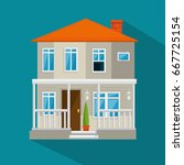 colorful cottage flat... | Shutterstock .eps vector #667725154