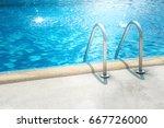grab bars ladder in the blue... | Shutterstock . vector #667726000