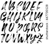 hand drawn dry brush font....   Shutterstock .eps vector #667730128