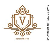 monogram logo template with... | Shutterstock .eps vector #667731949