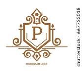 monogram logo template with...   Shutterstock .eps vector #667732018