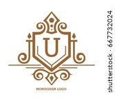 monogram logo template with...   Shutterstock .eps vector #667732024