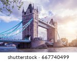 tower bridge at spring  london | Shutterstock . vector #667740499