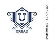 monogram logo template with...   Shutterstock .eps vector #667742164