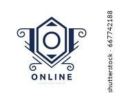 monogram logo template with...   Shutterstock .eps vector #667742188