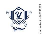monogram logo template with...   Shutterstock .eps vector #667742224