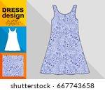 template white summer dress...   Shutterstock .eps vector #667743658