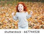 portrait of cute adorable... | Shutterstock . vector #667744528