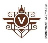 monogram logo template with...   Shutterstock .eps vector #667746610