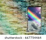 Small photo of brick wall colorful hole has rainbow and sunlight, Concept love, god bless, god gift, wish, happy, lucky, Concept love, god bless, god gift, wish, happy, lucky