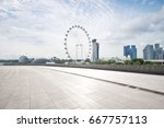 empty sidewalk with modern... | Shutterstock . vector #667757113