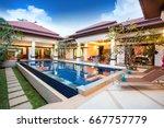 luxury exterior design pool... | Shutterstock . vector #667757779