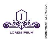 monogram logo template with...   Shutterstock .eps vector #667758964
