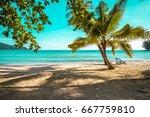 beautiful tropical island beach ... | Shutterstock . vector #667759810