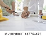 engineer sketching... | Shutterstock . vector #667761694
