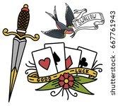 old school vintage retro tattoo ... | Shutterstock .eps vector #667761943