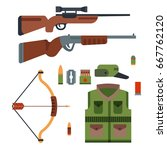 hunting weapons and symbols...   Shutterstock .eps vector #667762120