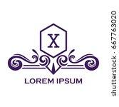 monogram logo template with...   Shutterstock .eps vector #667763020