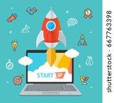 success start up concept space...   Shutterstock .eps vector #667763398