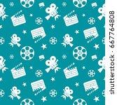blue cinema concept seamless... | Shutterstock .eps vector #667764808