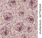 roses.seamless background.... | Shutterstock . vector #667766164