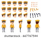 taxi driver in yellow suit... | Shutterstock .eps vector #667767544