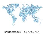 dotted world map   abstract... | Shutterstock .eps vector #667768714