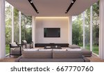 modern living room with garden... | Shutterstock . vector #667770760