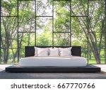 modern bedroom with garden view ...   Shutterstock . vector #667770766