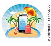 travels. online air tickets.... | Shutterstock . vector #667772770
