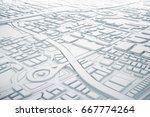 white and line 3d map of city... | Shutterstock . vector #667774264