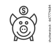piggy bank thin line icon. flat ... | Shutterstock . vector #667774684