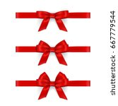 realistic red ribbons and bows... | Shutterstock . vector #667779544