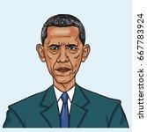 barack obama. vector caricature ...   Shutterstock .eps vector #667783924