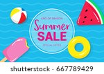 summer sale banner vector... | Shutterstock .eps vector #667789429