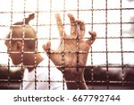 prisoner in prison | Shutterstock . vector #667792744