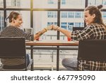 hipster young couple freelancer ... | Shutterstock . vector #667795090