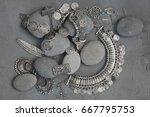 bohemian style silver jewelry... | Shutterstock . vector #667795753