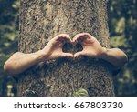 hands forming a heart shape... | Shutterstock . vector #667803730